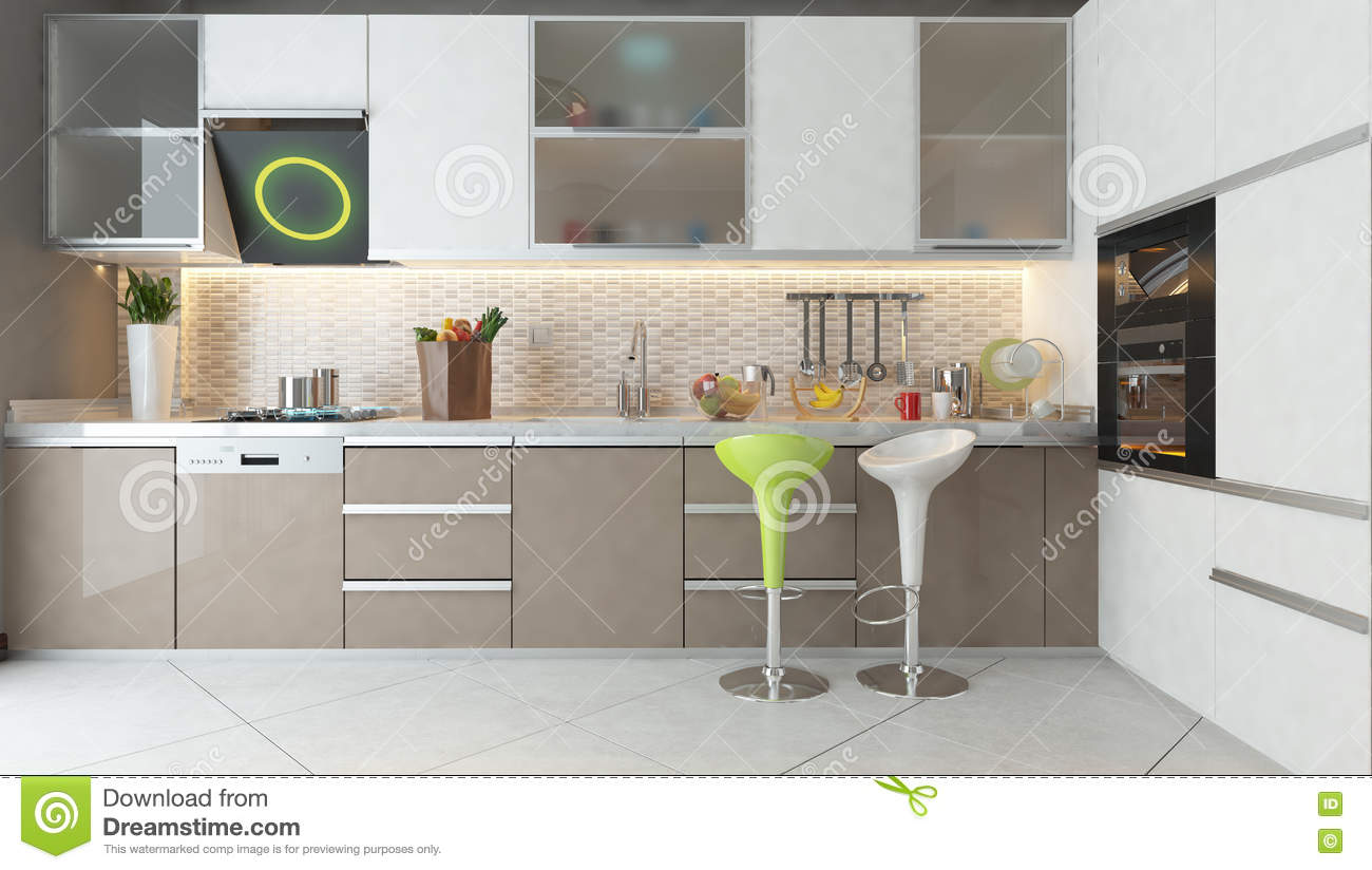 Kitchen design with white and cappuccino color wooden for Cappuccino kitchen cabinets
