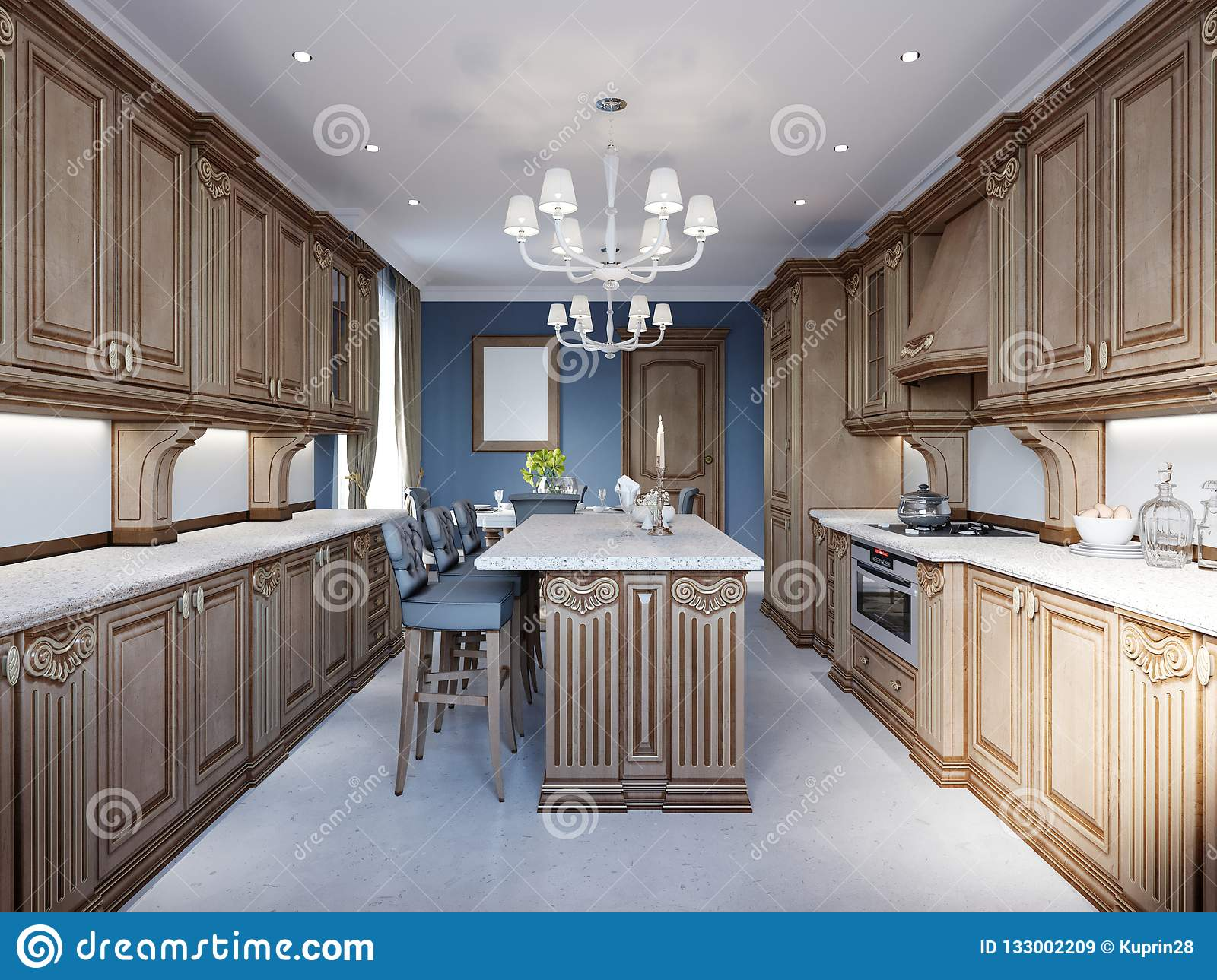 Kitchen And Dining In Luxury Home With Cherry Wood Cabinets Stock Illustration Illustration Of Design Cherry 133002209