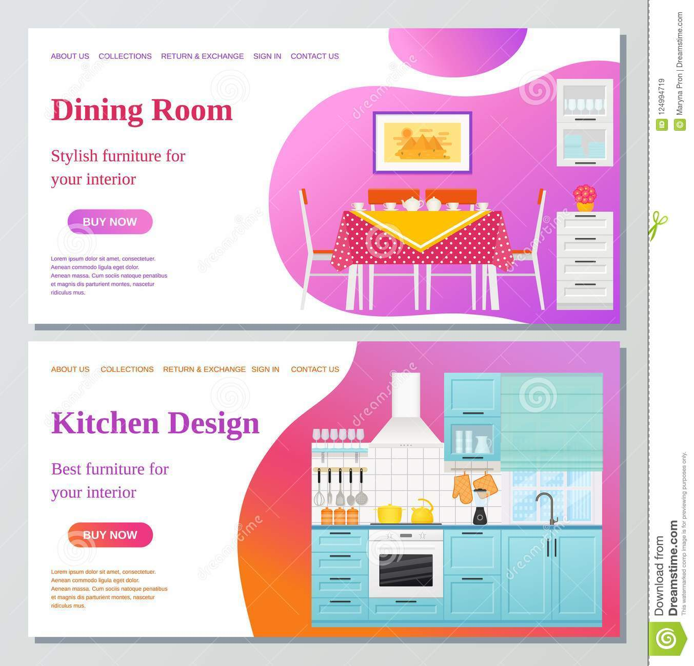 Kitchen Dining Room Web Page Design Template Vector Illustration