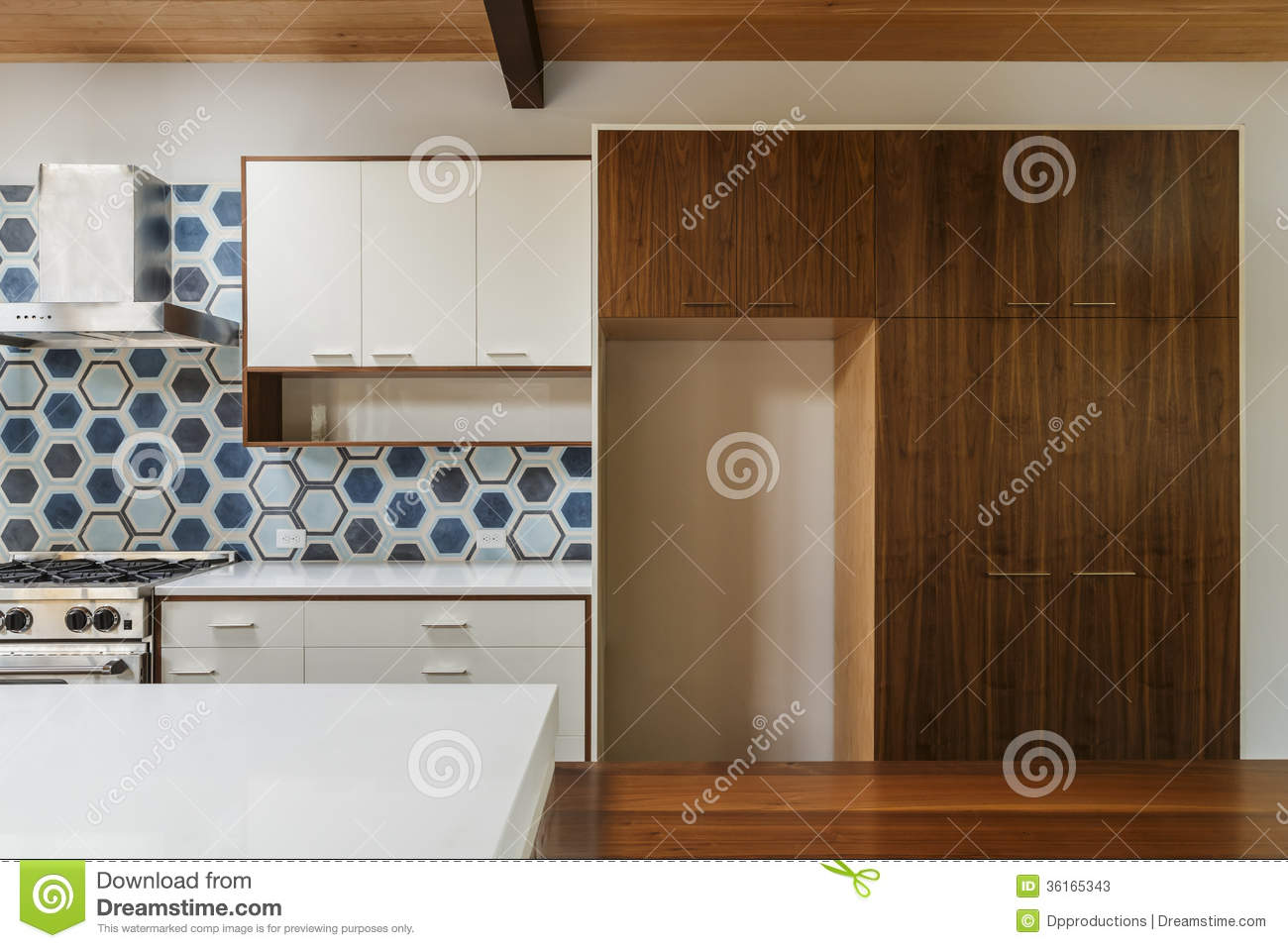 Kitchen And Dining Table In Modern Home Stock Photos