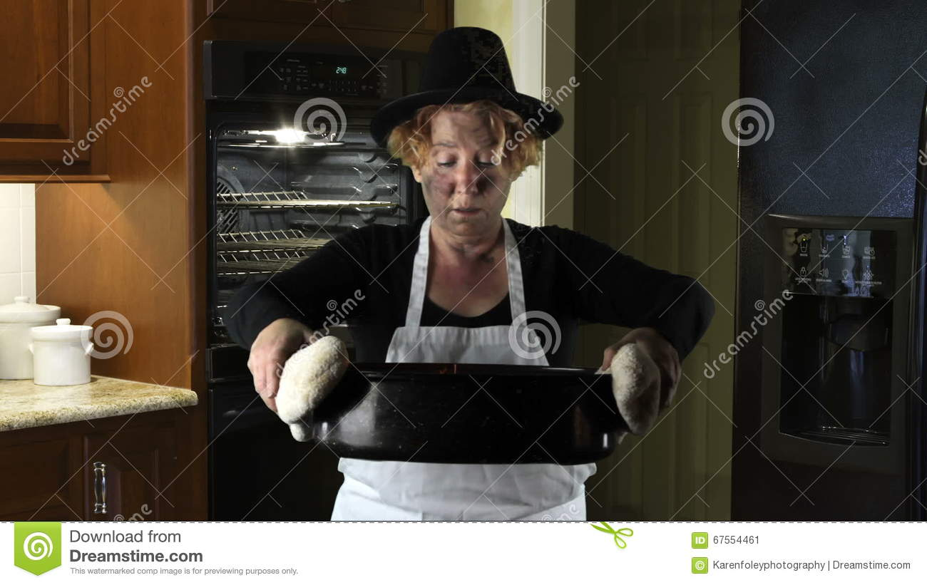 Kitchen Disasters, Woman With Apron And Pilgrim Hat Stock Video ...