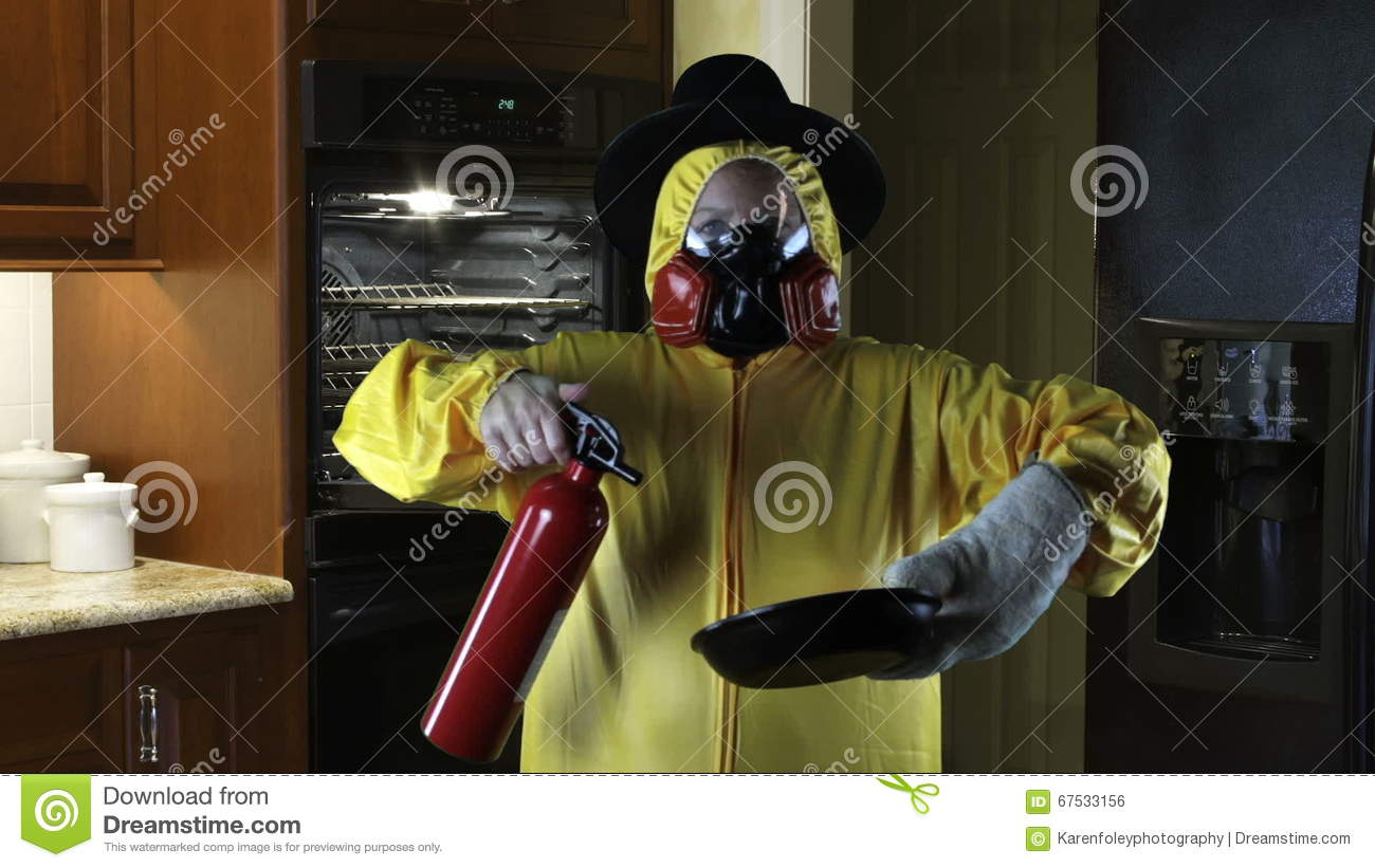 Kitchen Disasters, Woman With HazMat Suit And Pilgrim Hat Stock ...