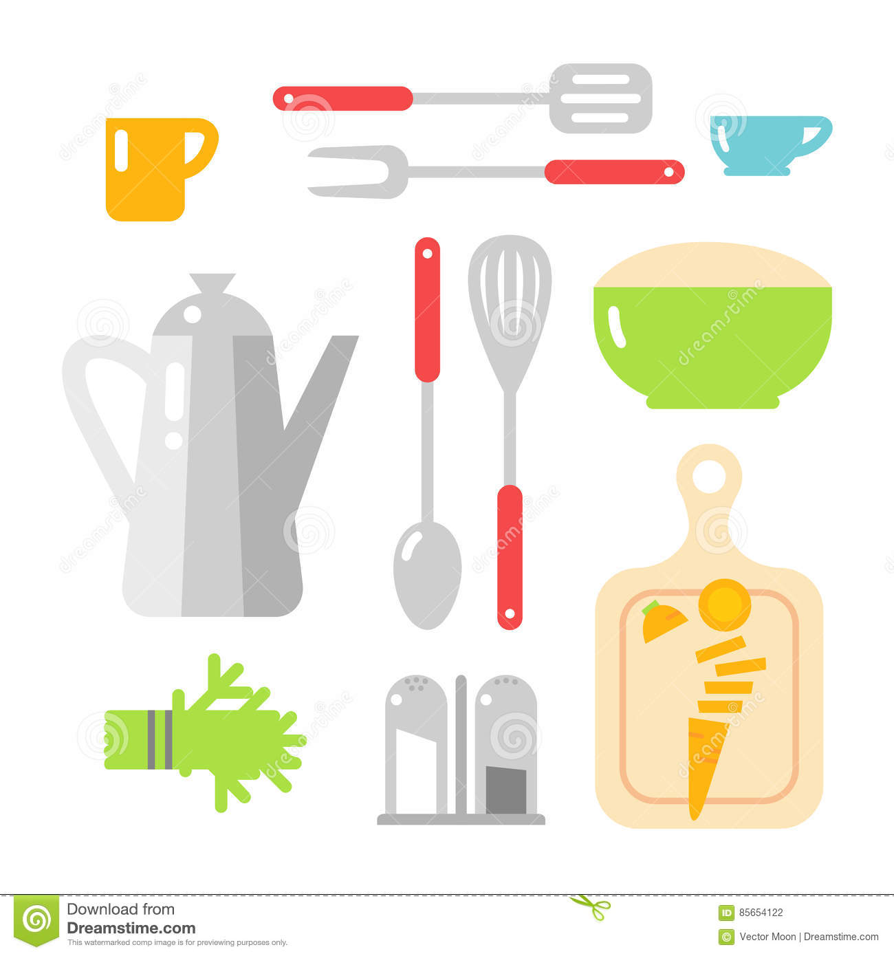 b3353970ae Kitchen Dishes Vector Flat Icons Isolated On White Background Stock ...