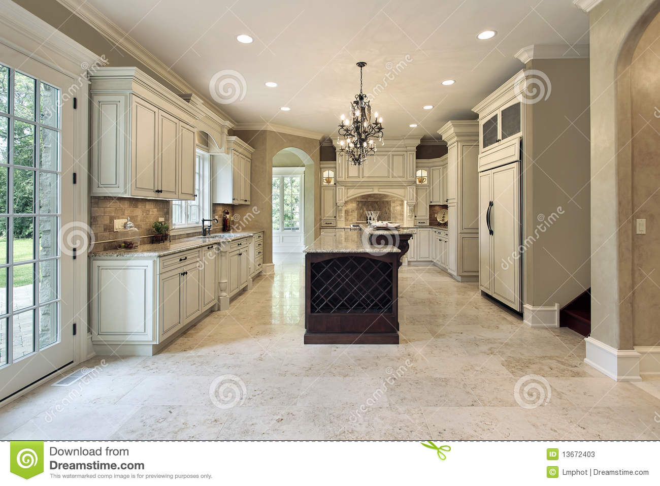 Kitchen With Double Deck Island Stock Image Image Of