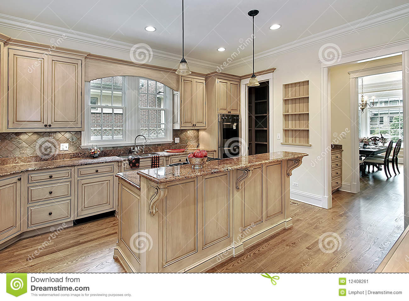 Kitchen with double-tiered island