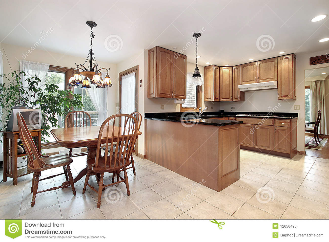 Kitchen With Eating Area Stock Image Image Of Dining