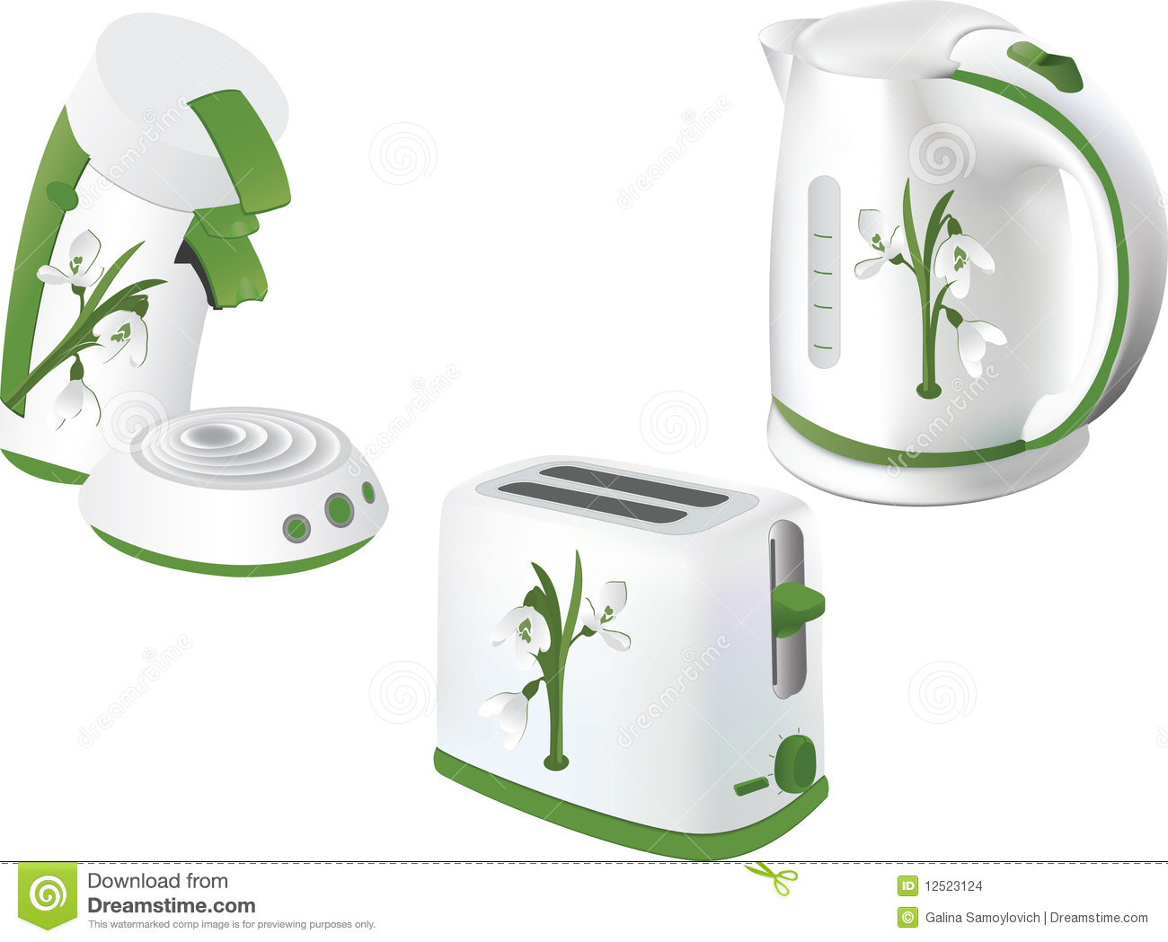 Kitchen Electrical Appliances : Collection of beautiful kitchen electrical appliances vector.