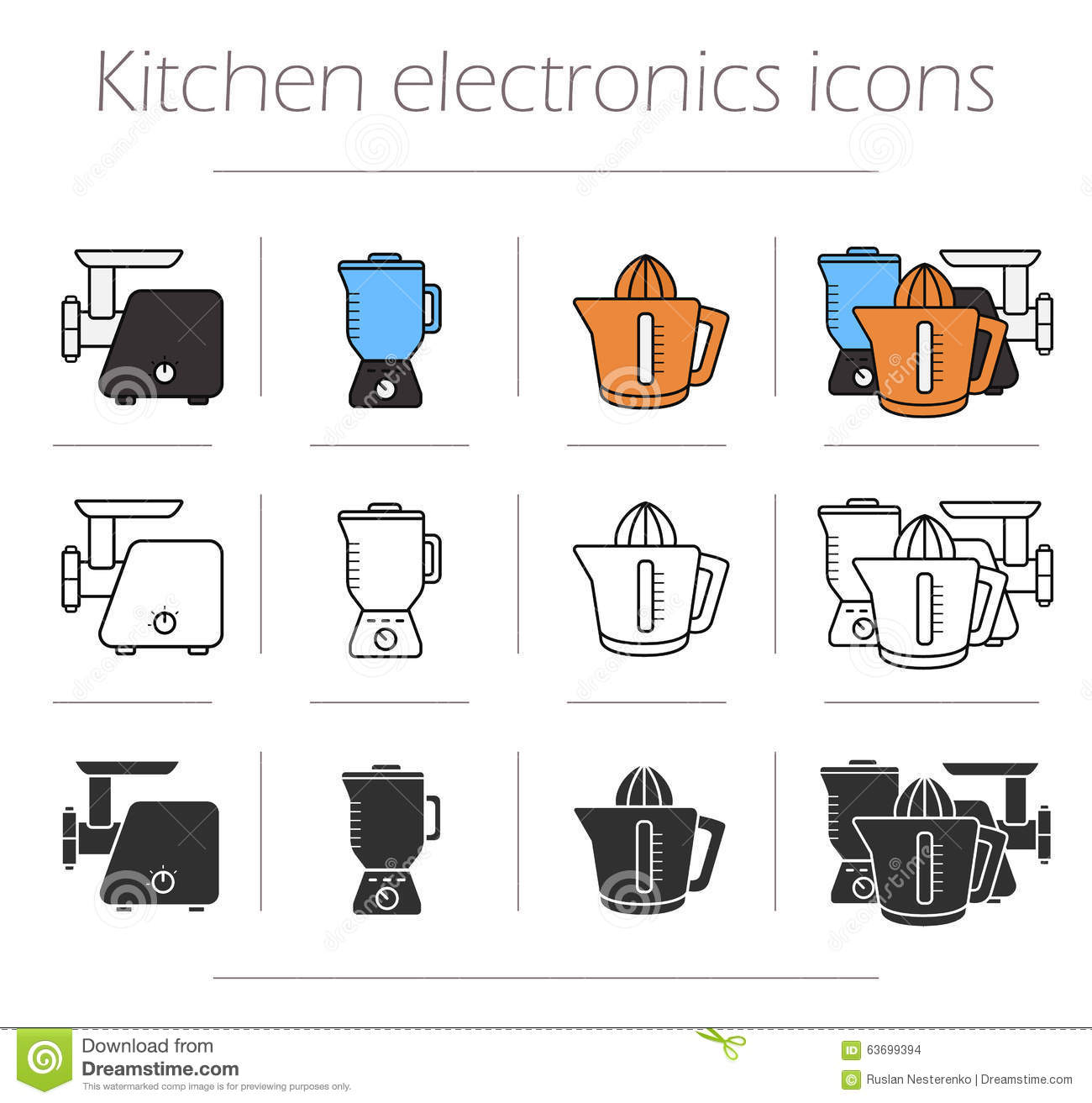 Kitchen electronics icons set stock vector image 63699394 for Modern household items