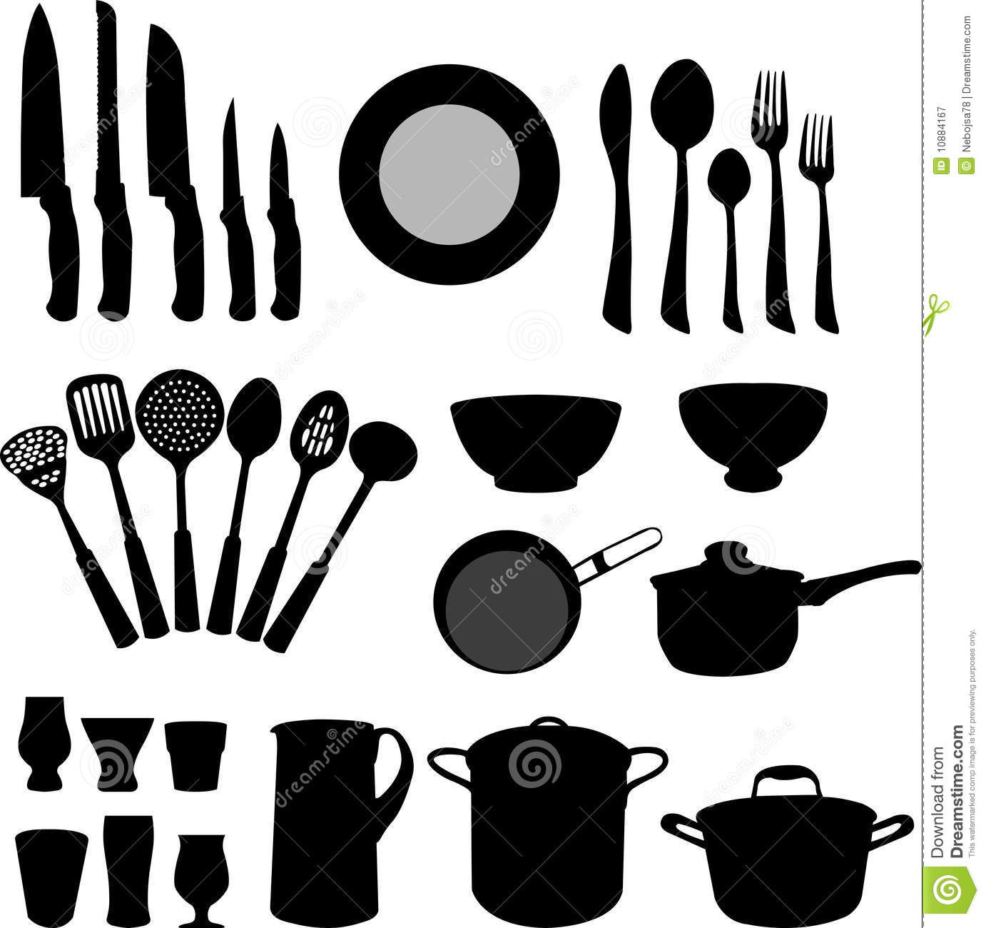 Kitchen Elements Vector Stock Vector Image Of Plate