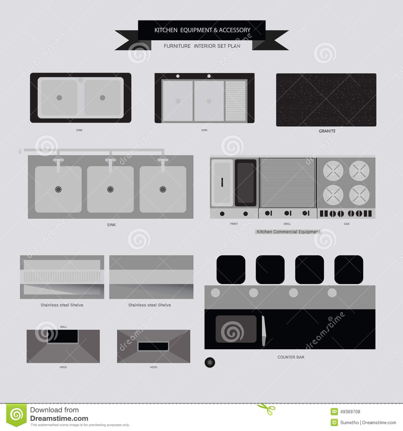 Kitchen Equipment And Accessory Furniture Icon Stock