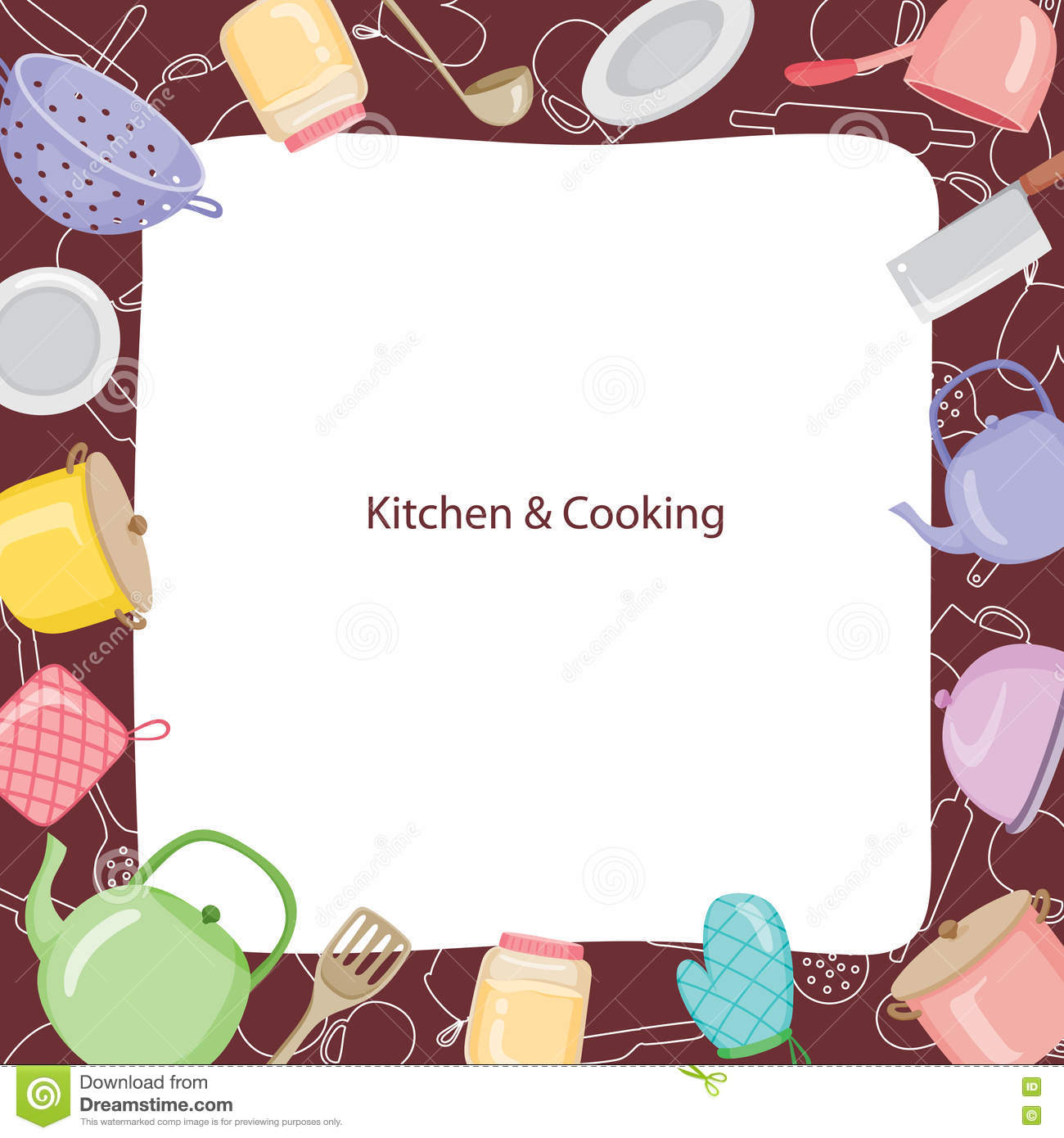 Kitchen Equipment Border Stock Vector Illustration Of Icons