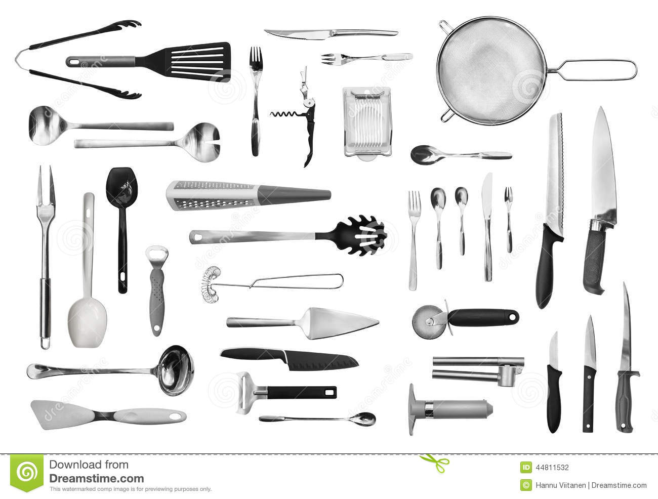 kitchen equipment and cutlery set stock photo image
