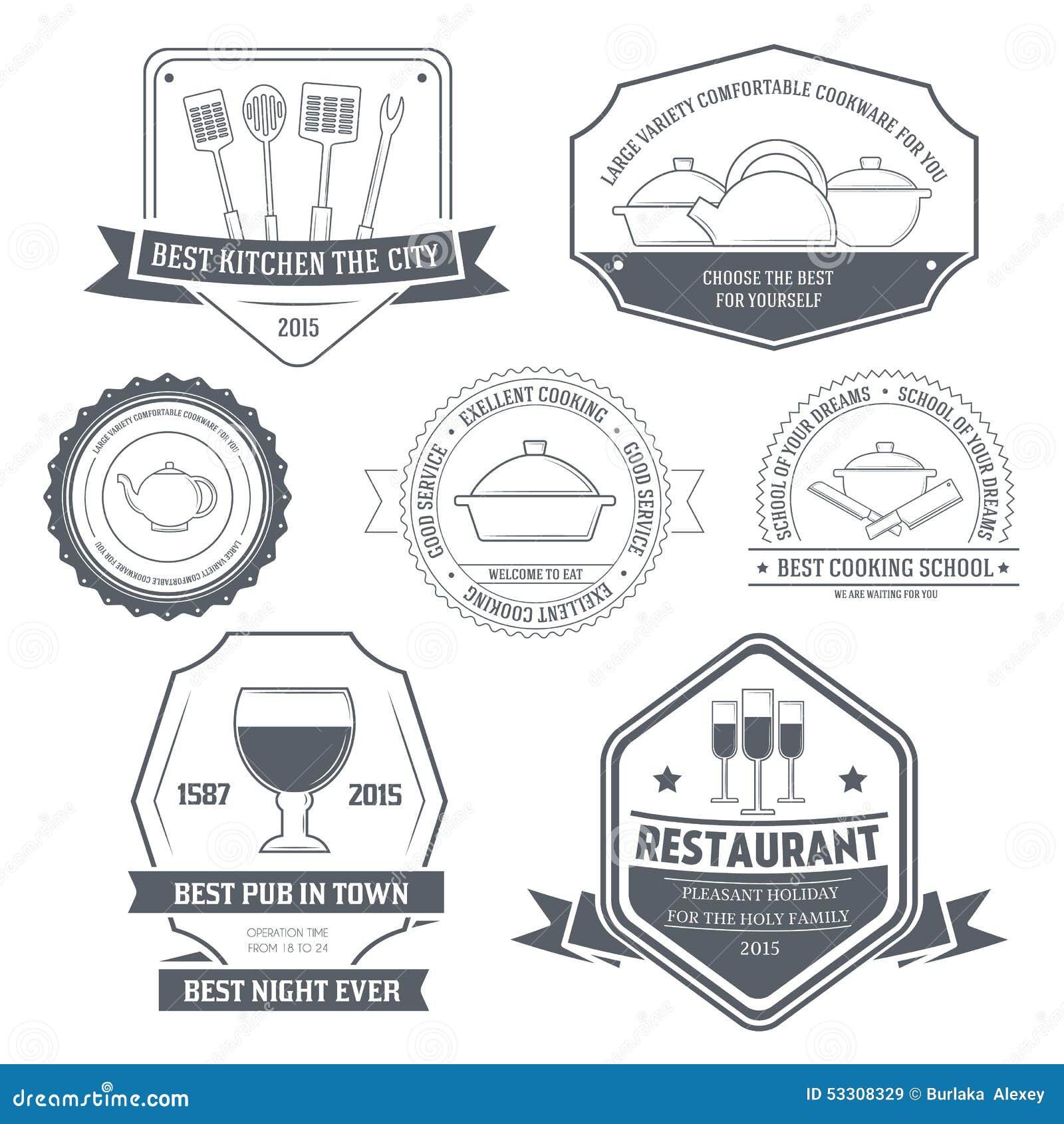 Mobile Kitchen Equipment Kitchen Equipment Set Label Template Of Emblem Stock Vector