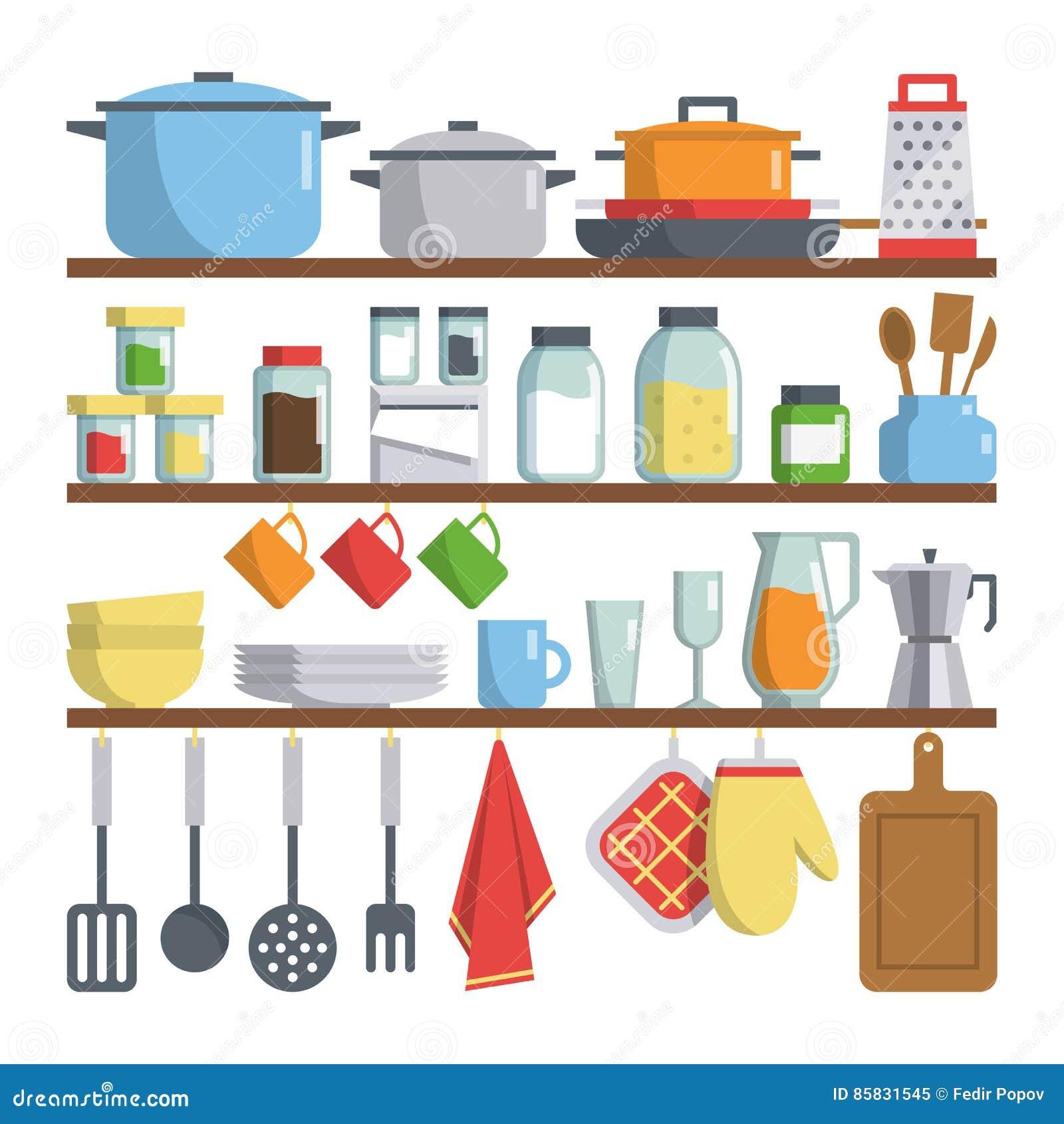 Kitchen equipments on shelf illustration cartoon vector for Kitchen design vector
