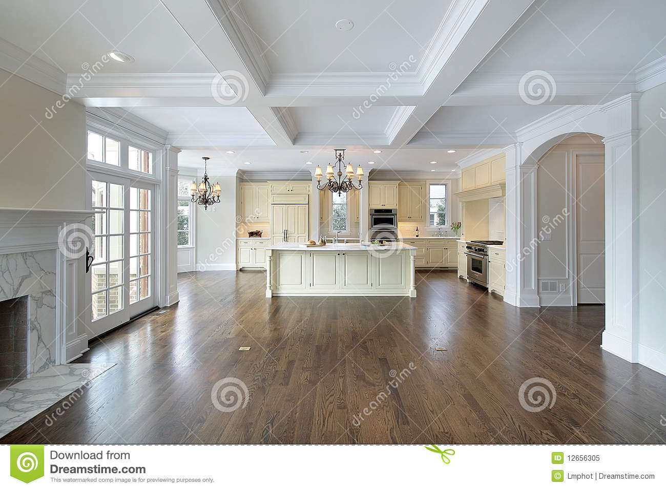 Kitchen Family Room kitchen and family room royalty free stock photo - image: 12656305