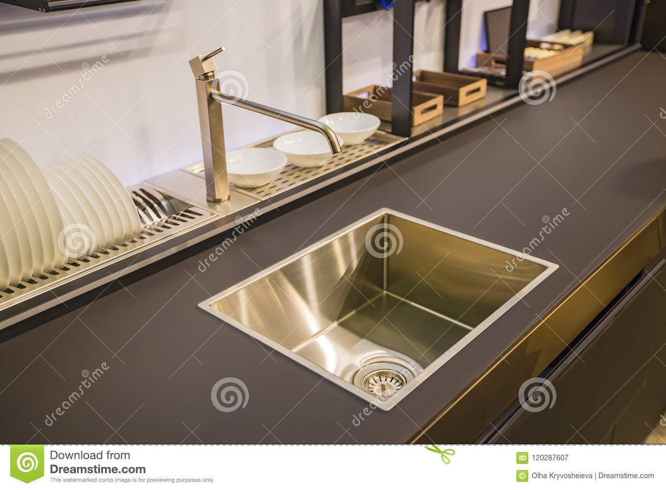 Kitchen Faucet Modern Kitchen In Loft Style Black Table Gold