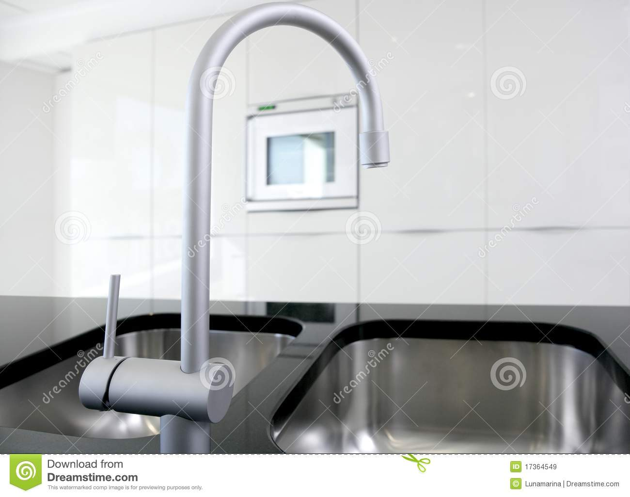 White Kitchen Faucet modern white kitchen clean interior design stock images - image