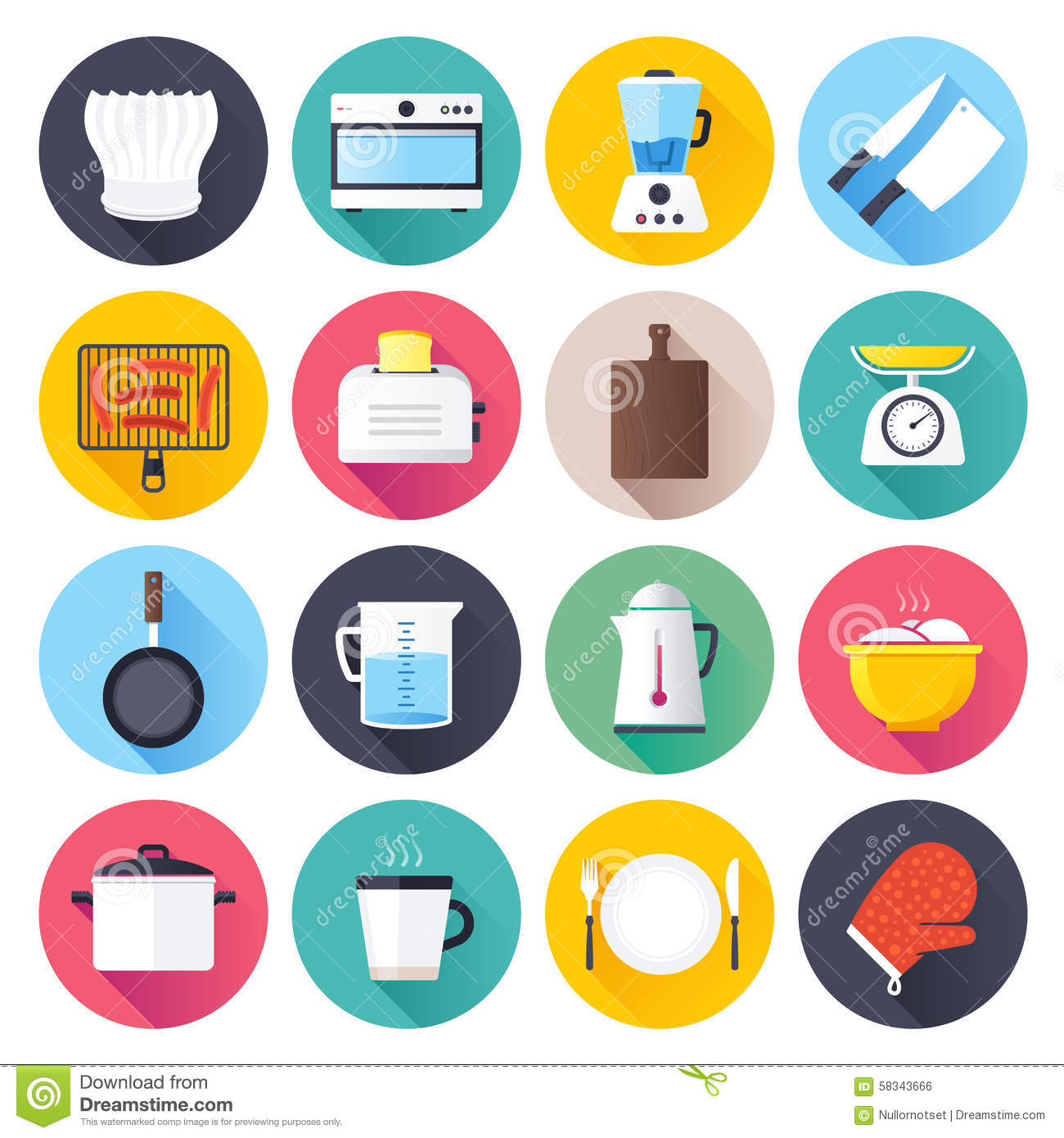 kitchen flat icon set stock vector - image: 58343666