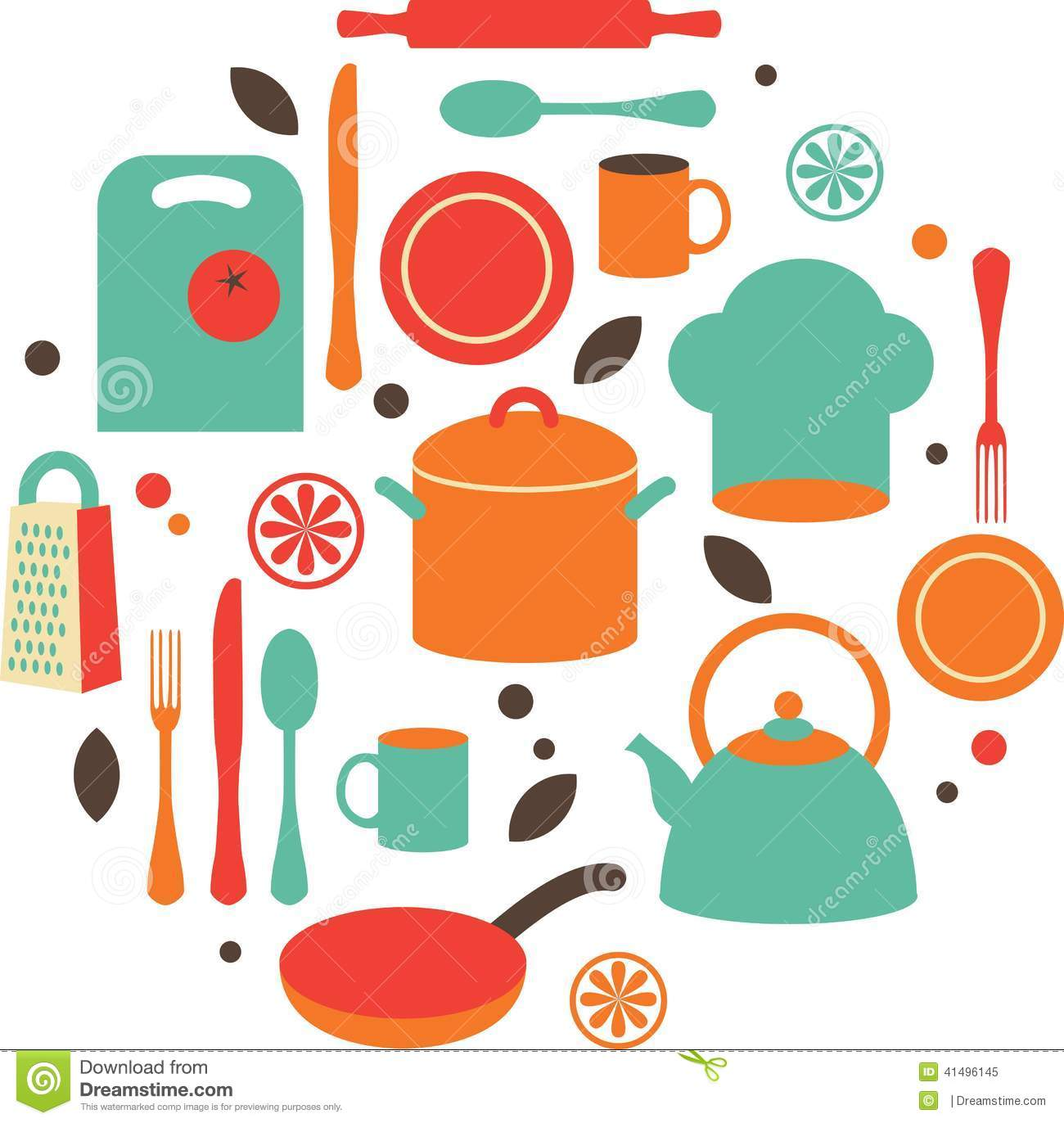 Kitchen Flat Icons Stock Vector Image 41496145
