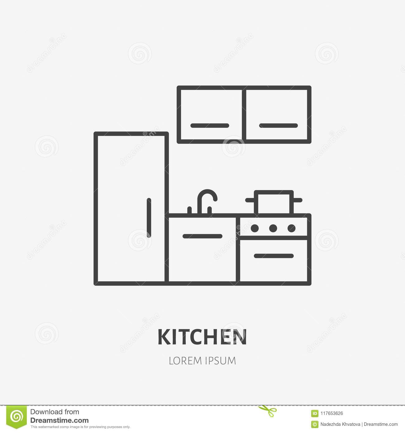 Kitchen Flat Line Icon Apartment Furniture Sign Vector