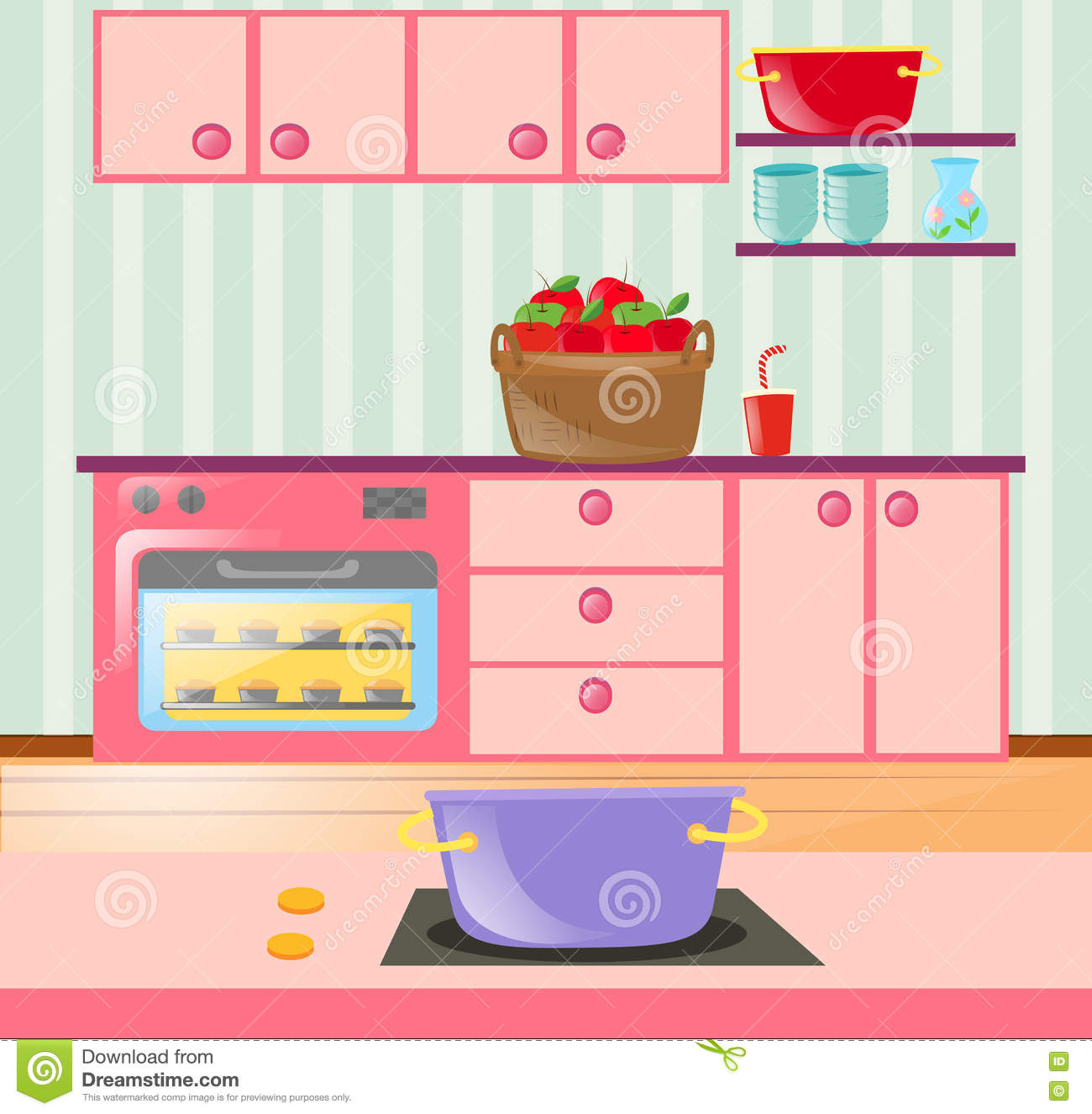 Kitchen Cabinet Clip Art: Kitchen Full Of Cabinets And Appliances Stock Vector