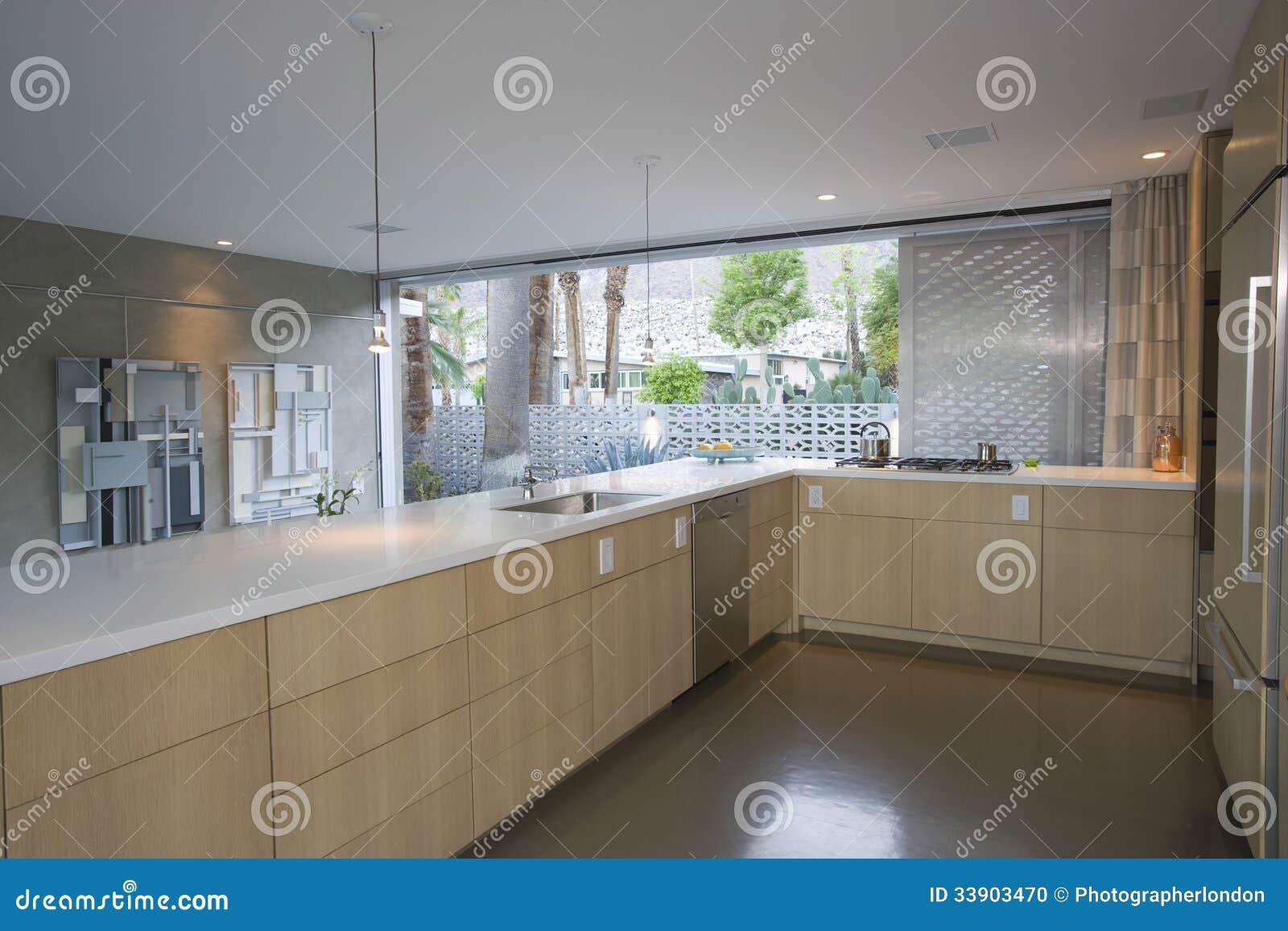 Keuken Modern Open : Kitchen furnished in light wood stock photo image of modern