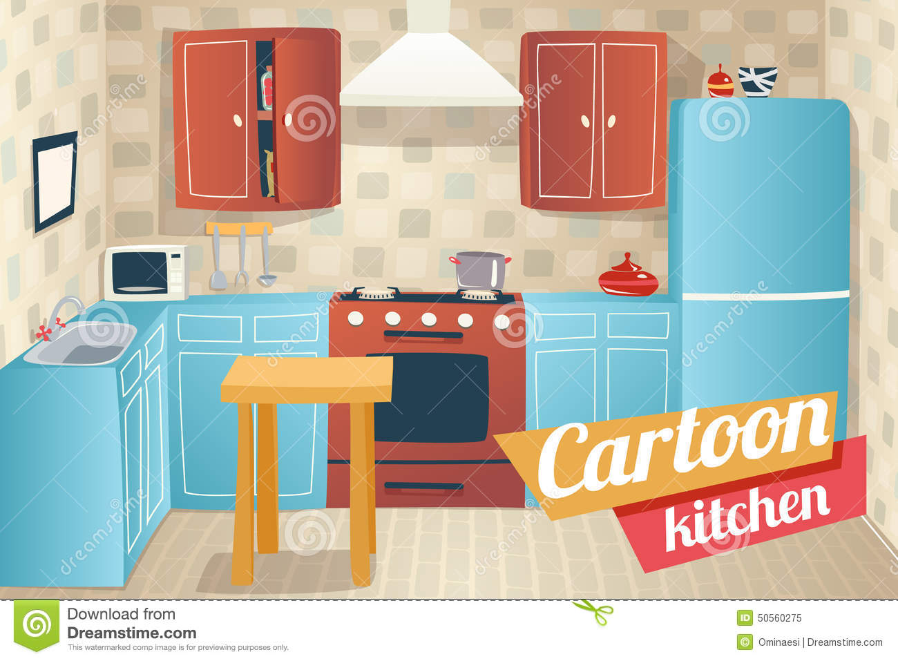 kitchen furniture accessories interior cartoon stock vector image