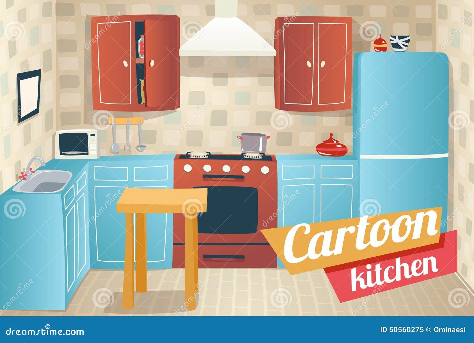 Kitchen furniture accessories interior cartoon stock for Kitchen set 2d
