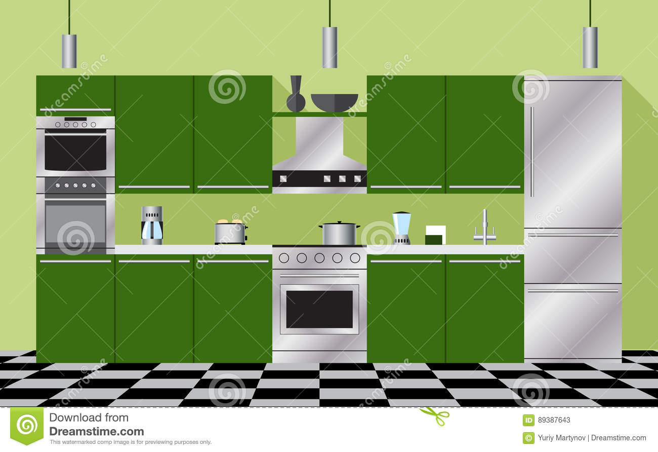 Kitchen Furniture And Appliances Green Stock Vector Illustration