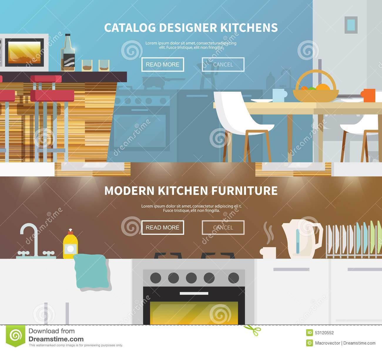 Kitchen Furniture Banner Stock Vector   Image: 53120552