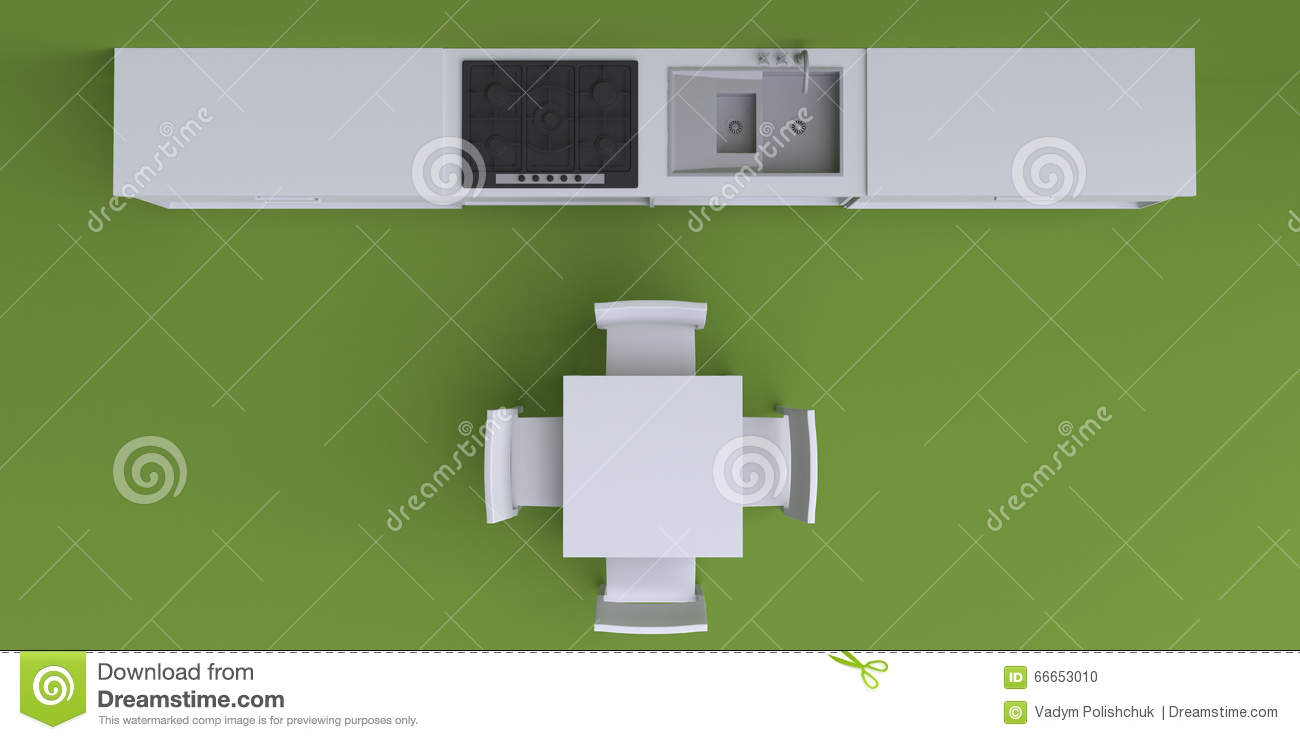 Kitchen Cabinet Clipart Top View