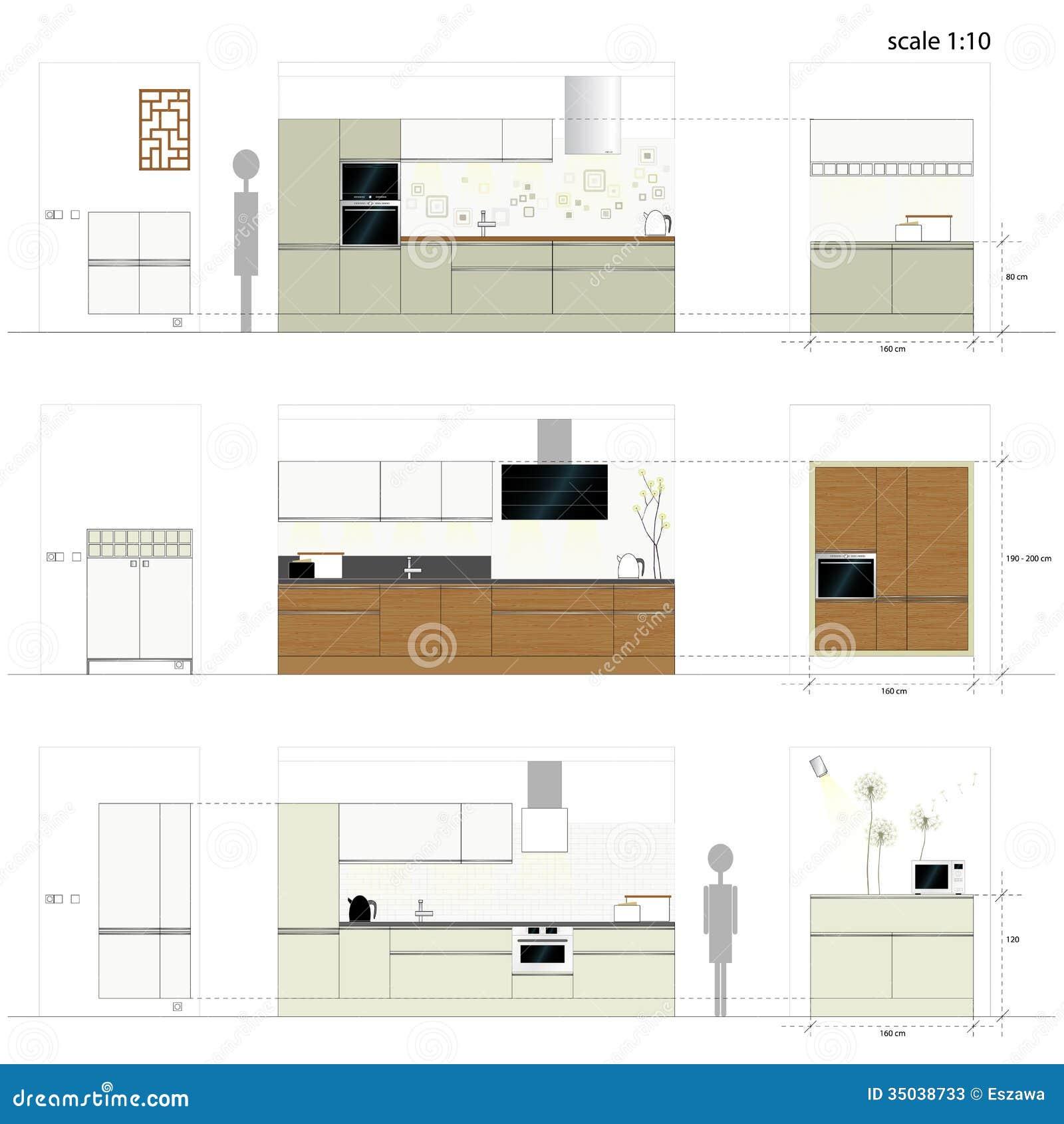 Kitchen furniture interior furniture vector illu stock for Kitchen set 2d