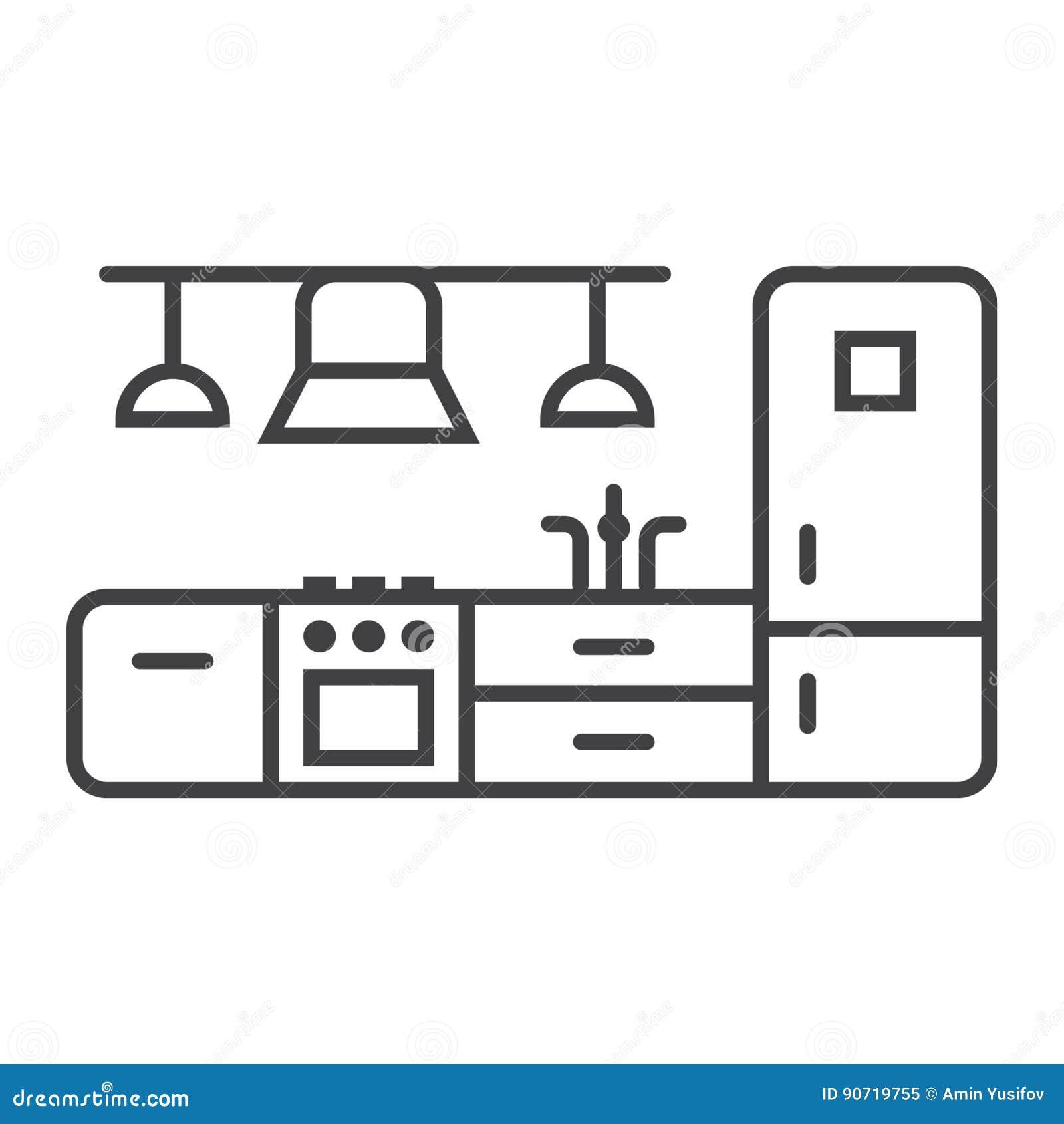 Interior Design Line Art Vector : Kitchen furniture line icon and interior stock vector