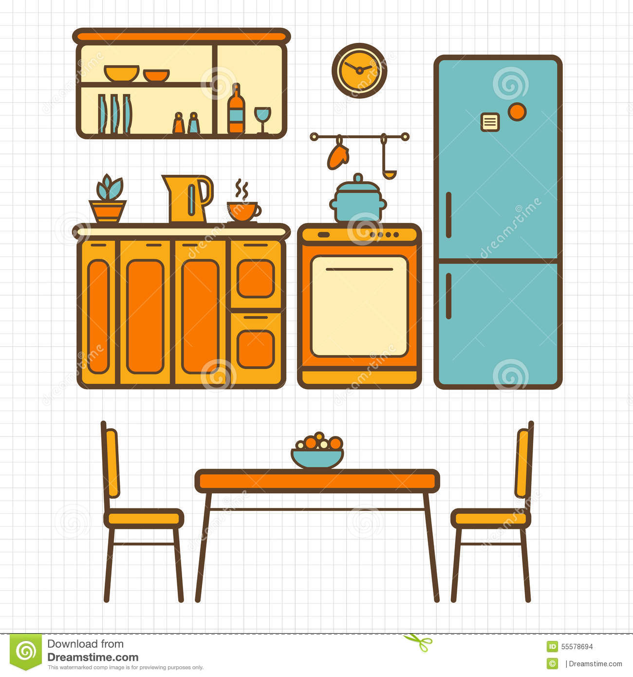 Kitchen With Furniture Stock Vector - Image: 55578694