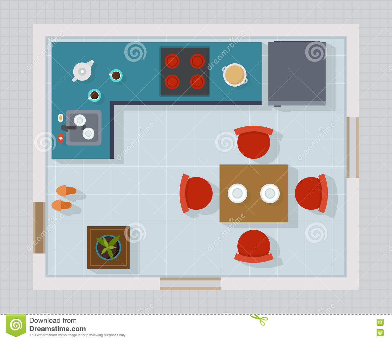 Kitchen Set Top View: Kitchen With Furniture Set Top View Stock Vector