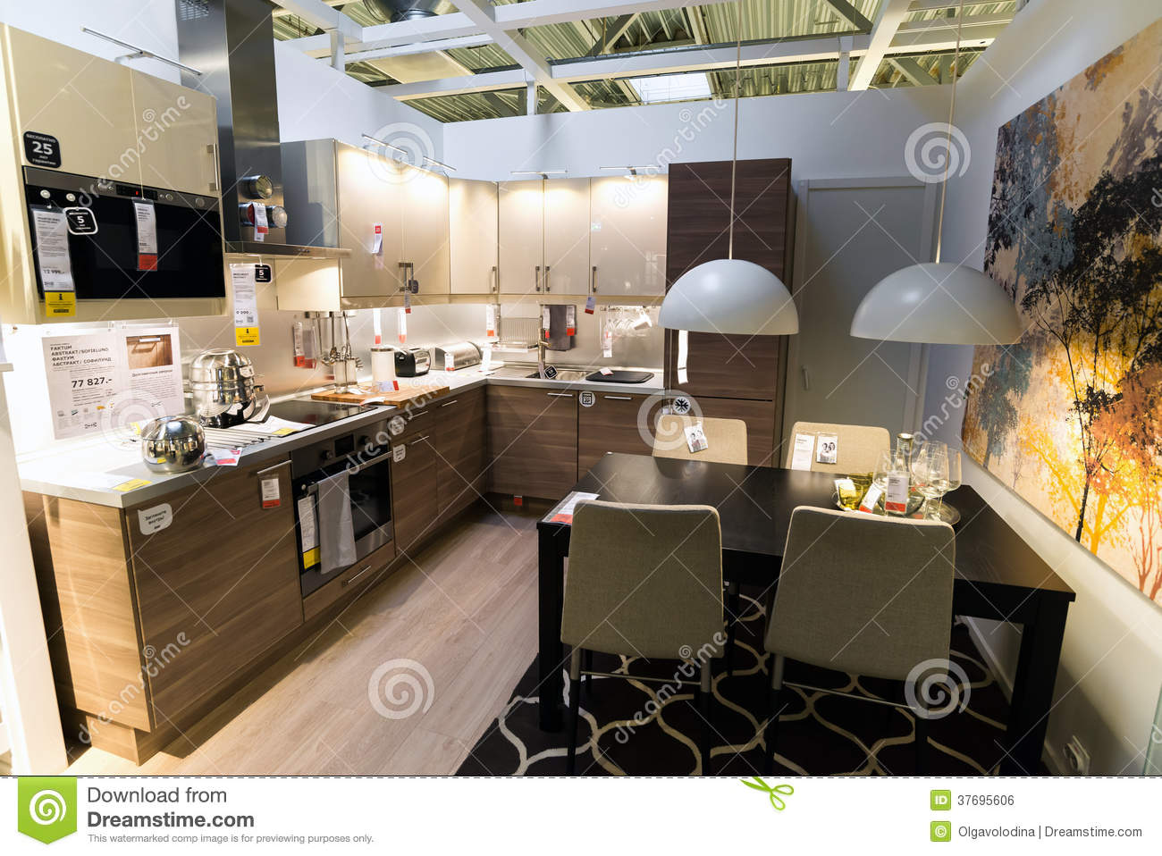 kitchen in the furniture store ikea editorial photo