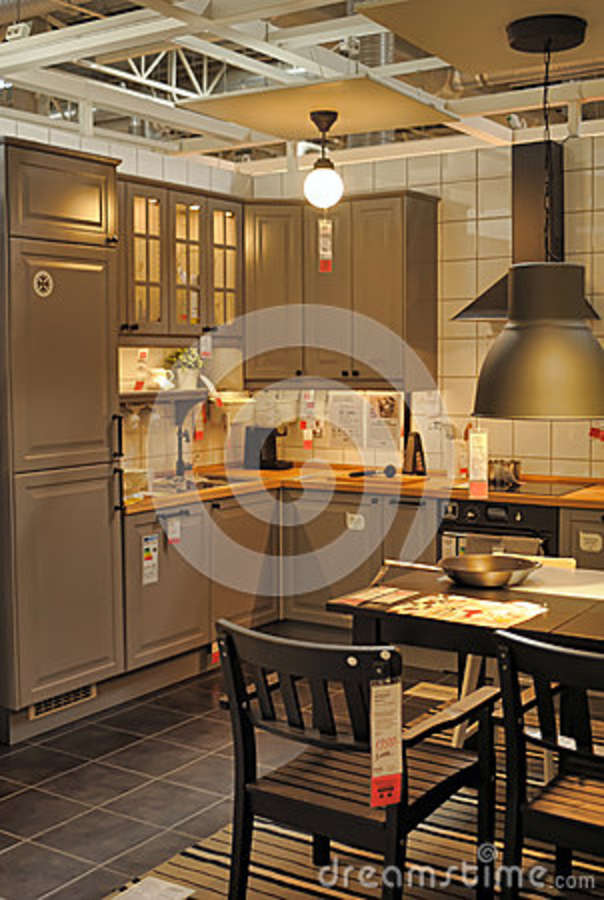 kitchen in furniture store ikea editorial photography
