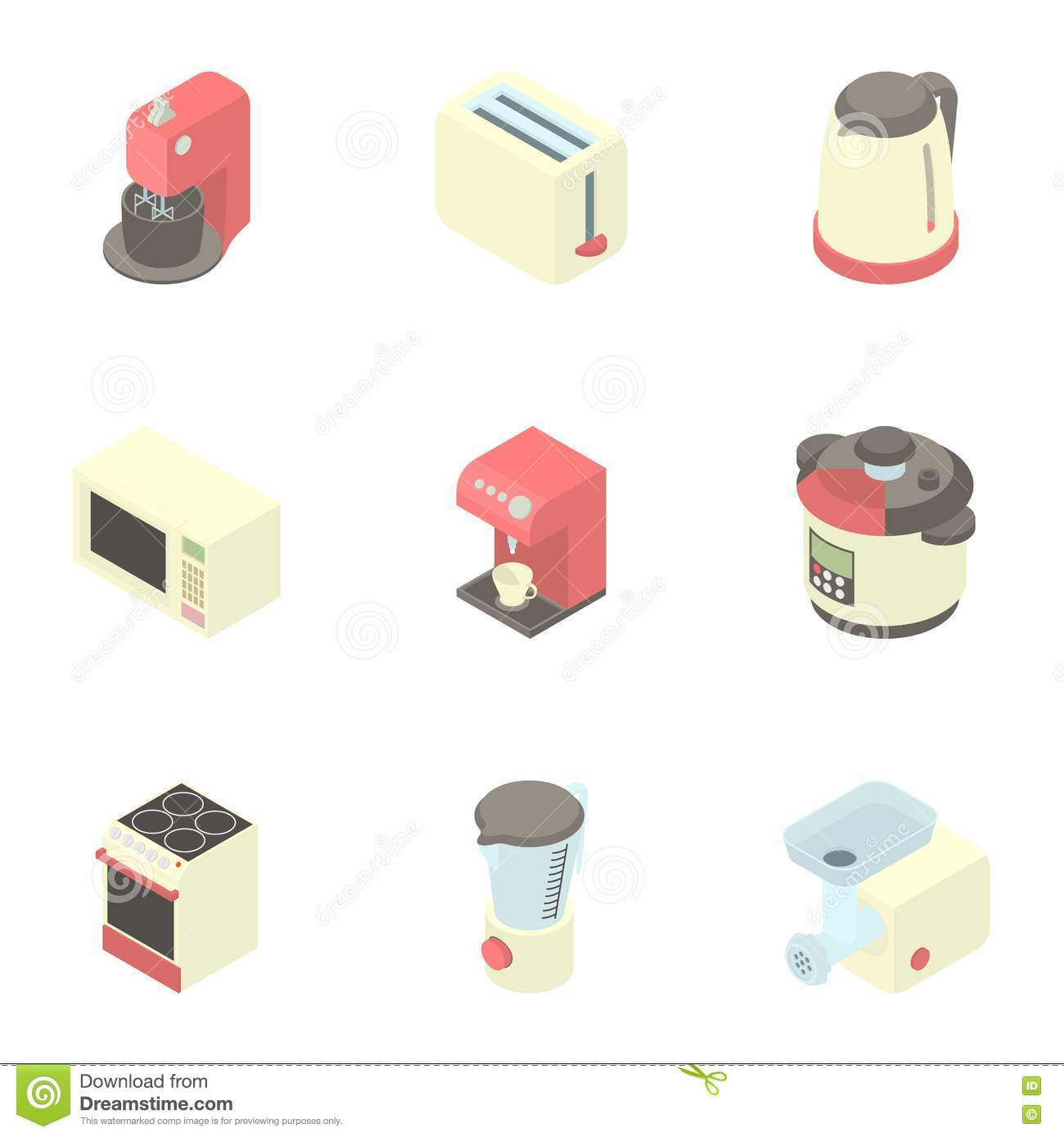 Kitchen Gadgets Icons Set, Cartoon Style Stock Vector