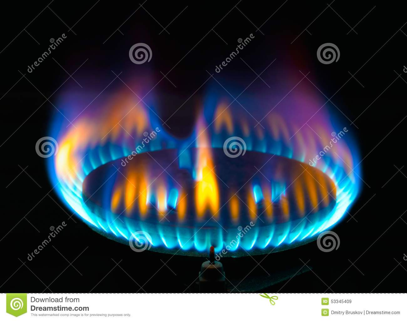 Kitchen Gas Burner Flame Stock Photo Image 53345409