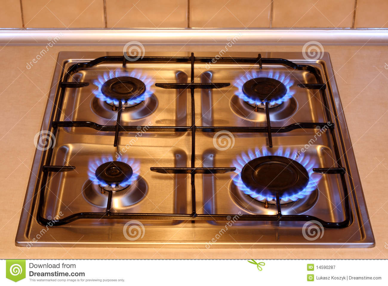 Orange flame on gas stove