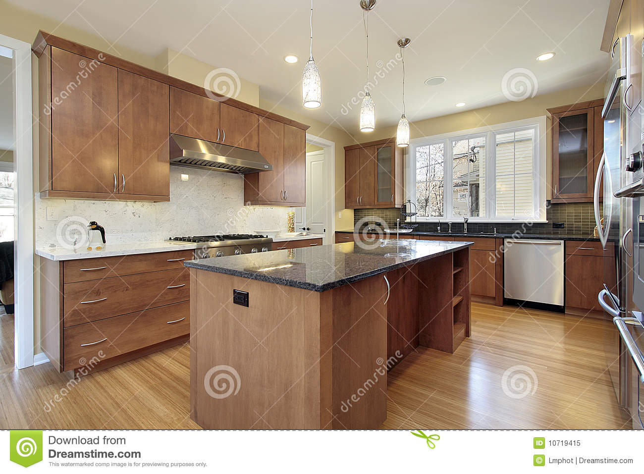 Kitchen with granite island royalty free stock photo image 10719415
