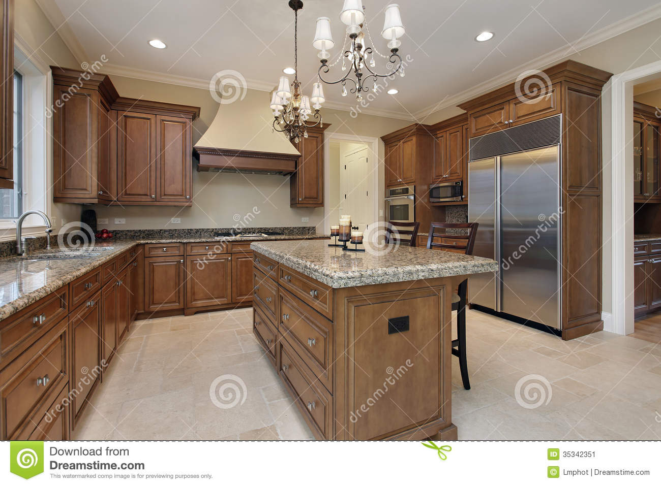 Granite Island Kitchen Kitchen With Granite Island Stock Image Image 35342351