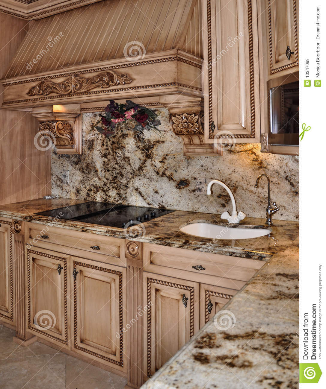 kitchen granite range and hood design royalty free stock