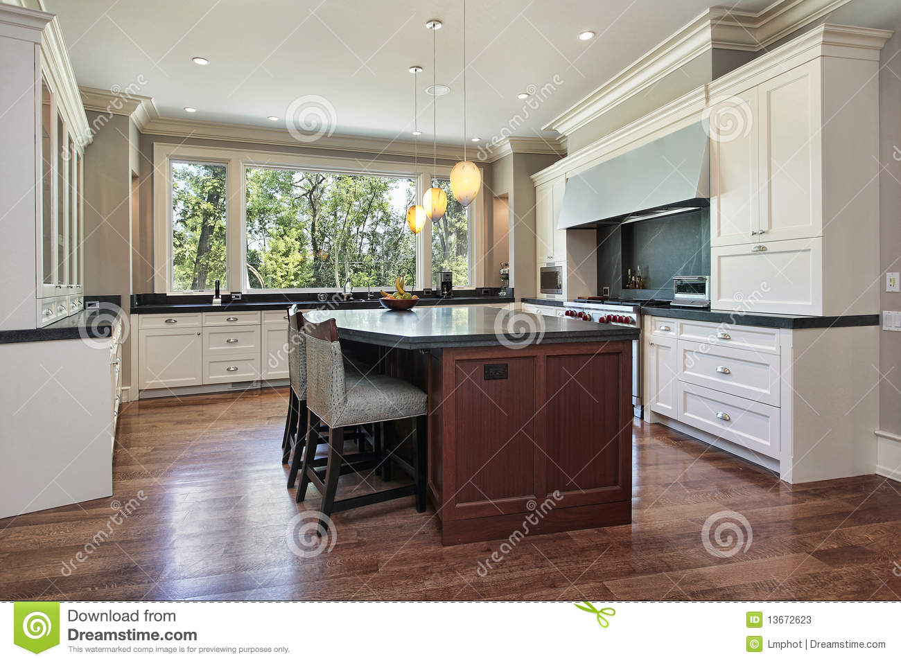 Kitchen with gray granite island stock photos image 13672623