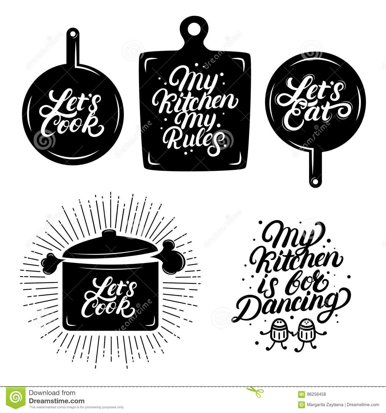 Kitchen Hand Written Lettering Quotes. Stock Vector - Illustration ...