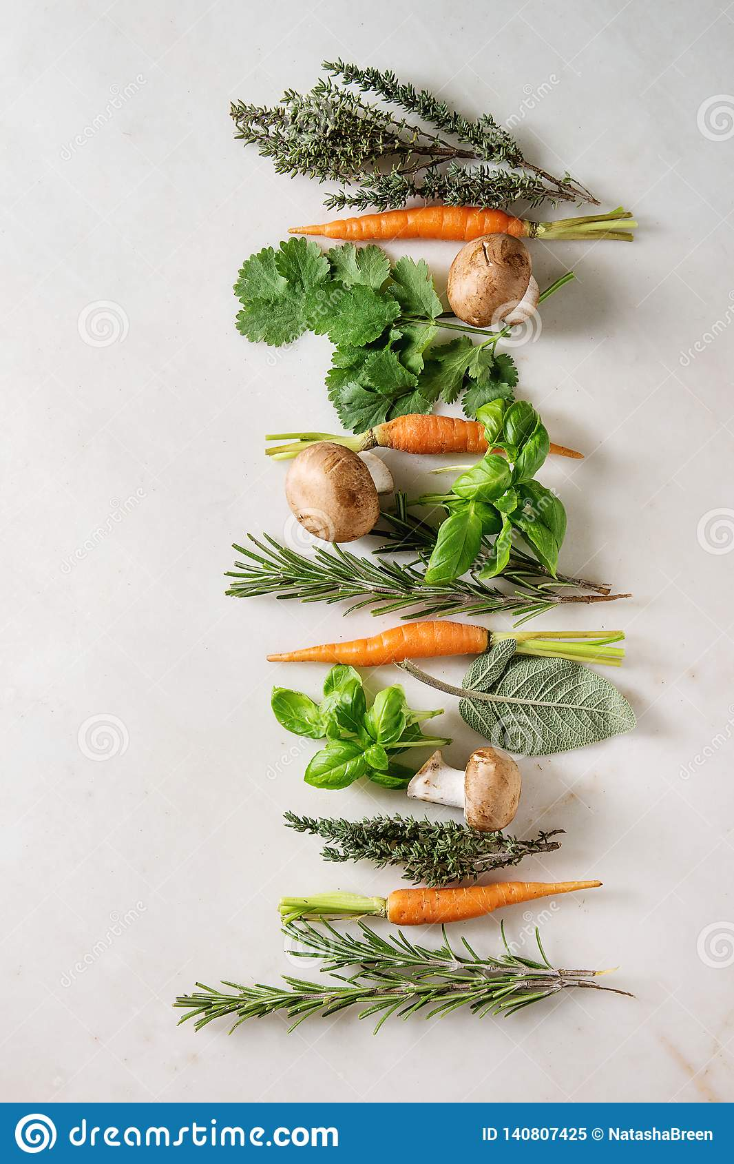 Kitchen herbs and carrots