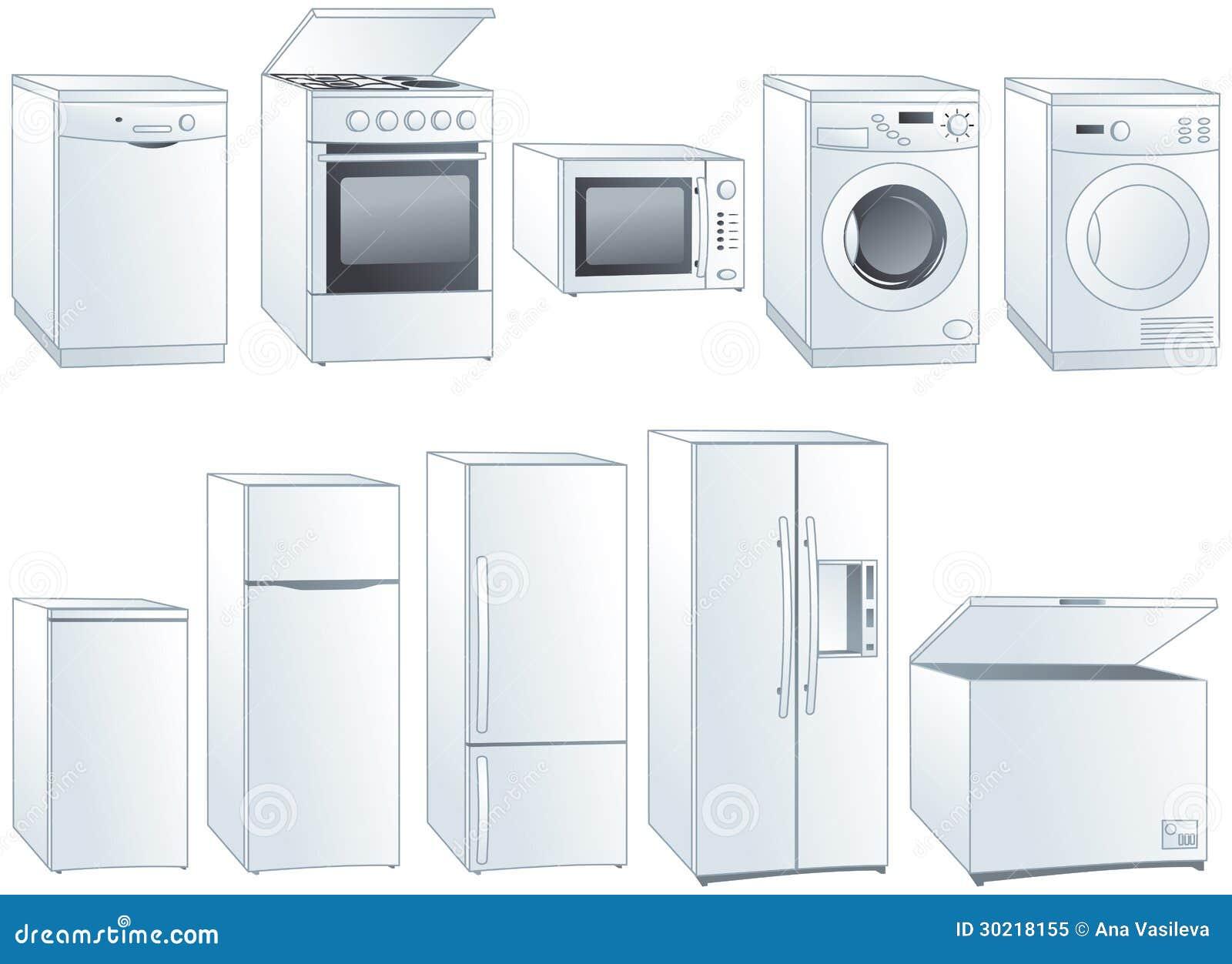 Home Appliances Illustrations Set Royalty Free Stock Photo