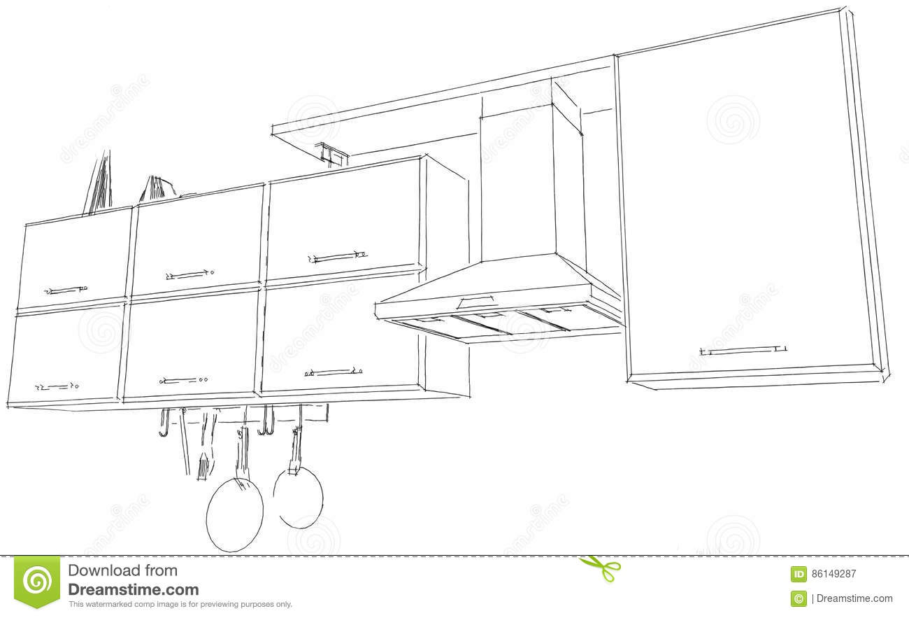 Kitchen Hood With Cabinets And Shelf Contour Sketch Black And