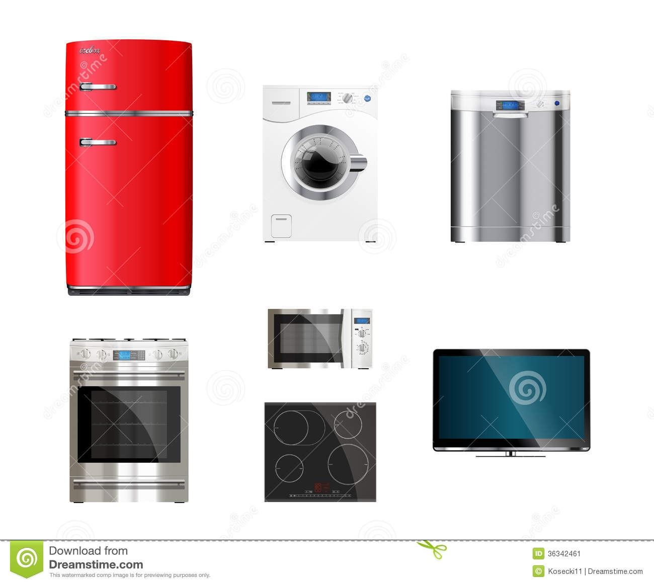 kitchen and house appliances stock vector image 36342461