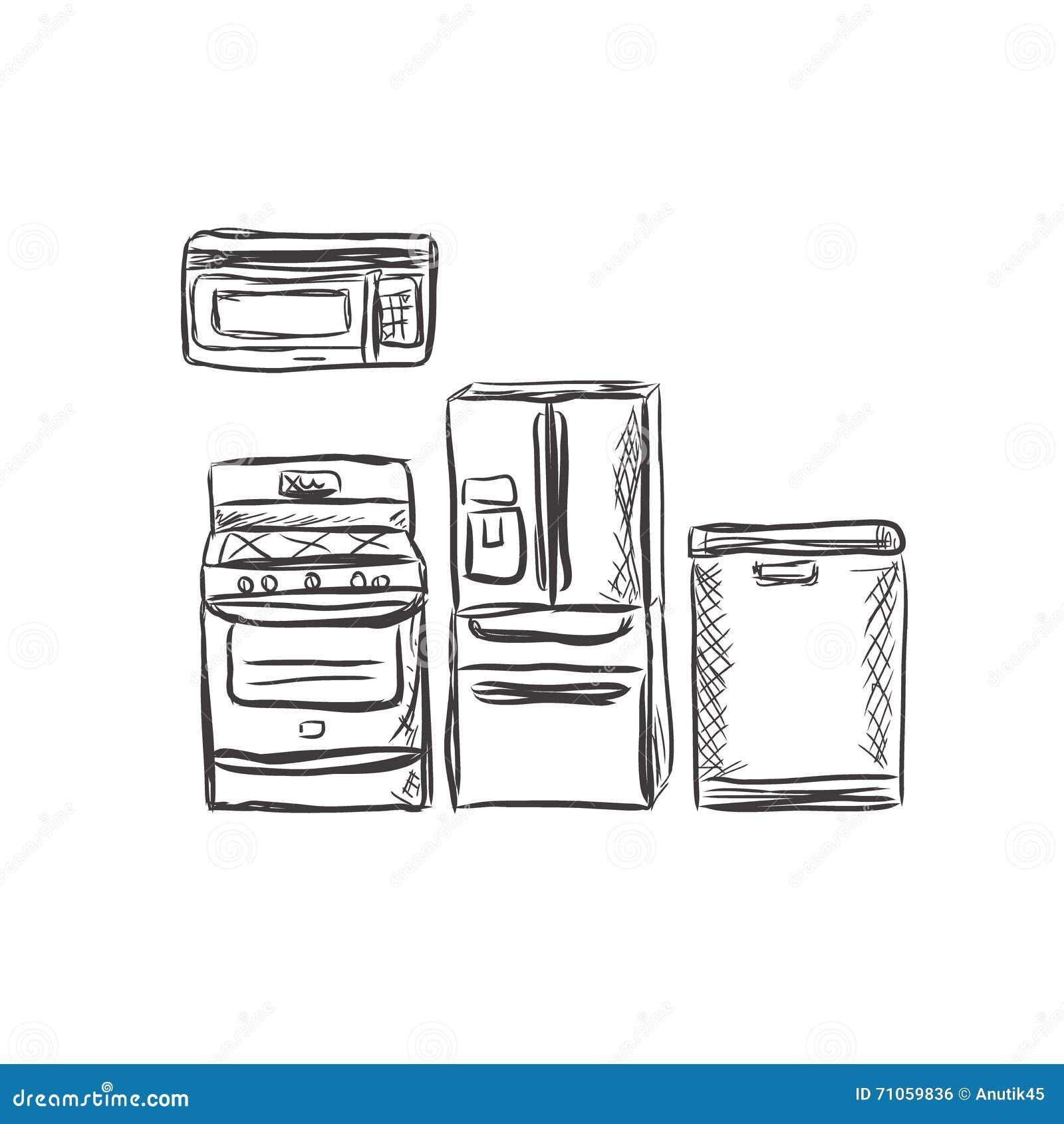 Illustration household appliances stock photo for Household refrigerator design
